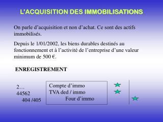 L�ACQUISITION DES IMMOBILISATIONS
