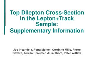 Top Dilepton Cross-Section in the Lepton+Track Sample: Supplementary Information