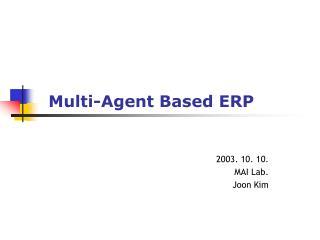 Multi-Agent Based ERP