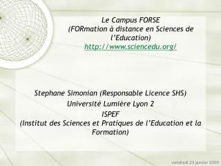 Le Campus FORSE (FORmation à distance en Sciences de l'Education) sciencedu/