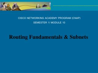 CISCO NETWORKING ACADEMY PROGRAM (CNAP) SEMESTER 1/ MODULE 10