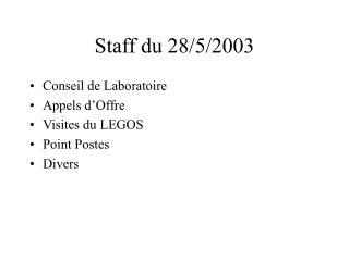 Staff du 28/5/2003