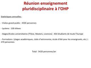 Réunion enseignement pluridisciplinaire à l'OHP