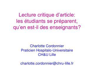 Lecture critique d'article: les étudiants se préparent,  qu'en est-il des enseignants?