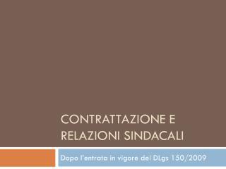 Contrattazione e  relazioni sindacali