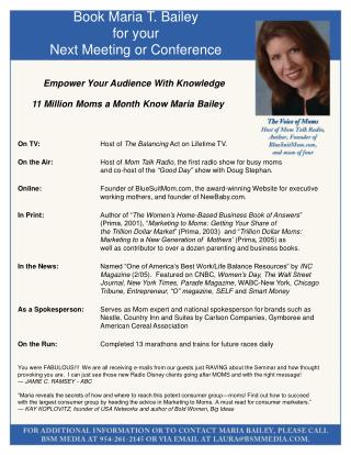Book Maria T. Bailey for your Next Meeting or Conference