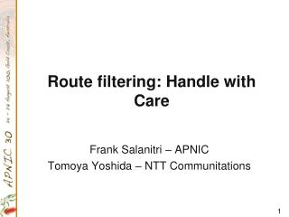 Route filtering: Handle with Care