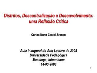 Distritos, Descentralização e Desenvolvimento: uma Reflexão Crítica Carlos Nuno Castel-Branco