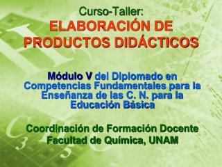 Curso-Taller: ELABORACIÓN DE PRODUCTOS DIDÁCTICOS