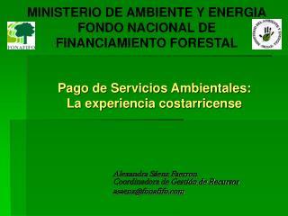 MINISTERIO DE AMBIENTE Y ENERGIA FONDO NACIONAL DE  FINANCIAMIENTO FORESTAL