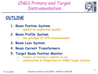 CNGS Primary and Target Instrumentation