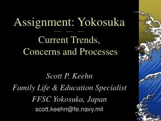 Assignment: Yokosuka -----     -----     ----- Current Trends,  Concerns and Processes