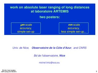 work on absolute laser ranging of long distances at laboratoire ARTEMIS two posters: