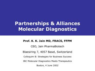 Partnerships  Alliances Molecular Diagnostics