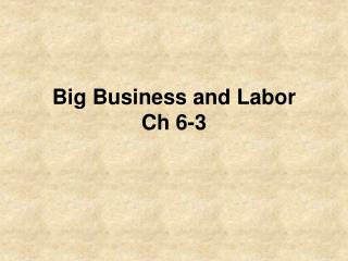 Big Business and Labor Ch 6-3