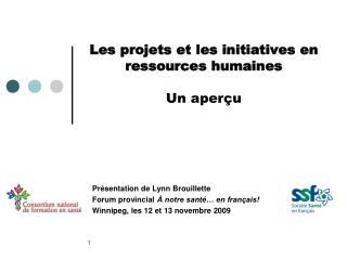 Les projets et les initiatives en ressources humaines Un aperçu