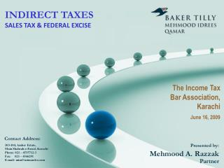 INDIRECT TAXES SALES TAX & FEDERAL EXCISE