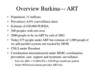 Overview Burkina--- ART
