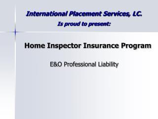 Home Inspector Insurance Program