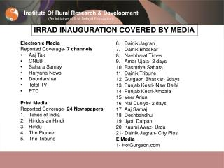 Institute Of Rural Research & Development (An initiative of S M Sehgal Foundation)
