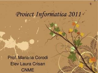 Proiect Informatica 2011