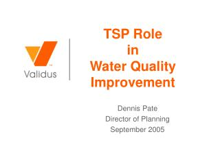TSP Role  in  Water Quality Improvement