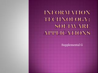 Information Technology: Software Applications