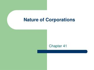 Nature of Corporations