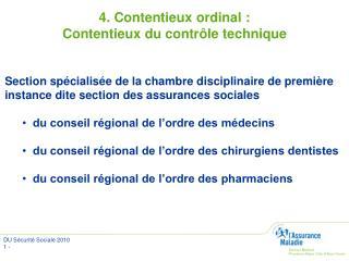 4. Contentieux ordinal :  Contentieux du contrôle technique