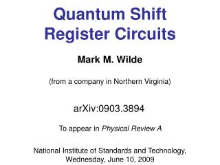Quantum Shift Register Circuits