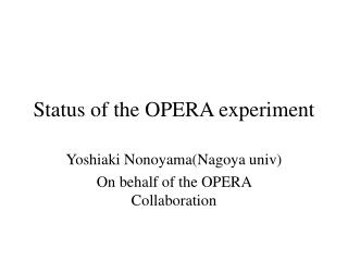 Status of the OPERA experiment