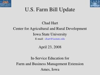 U.S. Farm Bill Update