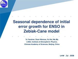 Seasonal dependence of initial error growth for ENSO in Zebiak-Cane model