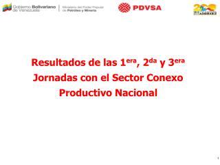 Resultados de las 1 era , 2 da  y 3 era  Jornadas con el Sector Conexo Productivo Nacional