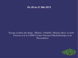 Du 28 au 31 Mai 2013