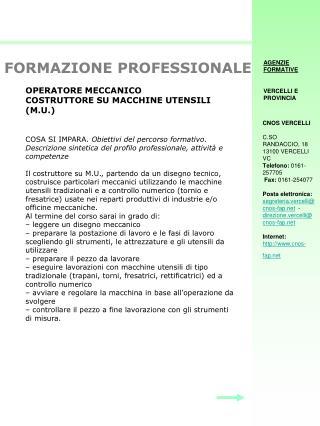 OPERATORE MECCANICO COSTRUTTORE SU MACCHINE UTENSILI (M.U.)