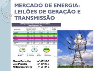 MERCADO DE ENERGIA: LEILÕES DE GERAÇÃO E TRANSMISSÃO