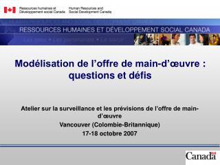 Mod�lisation de l�offre de main-d��uvre�: questions et d�fis