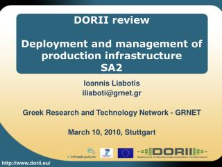 DORII review Deployment and management of production infrastructure SA2