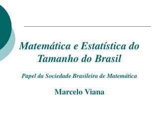 Matemática e Estat ística  do Tamanho do Brasil Papel da Sociedade Brasileira de Matemática