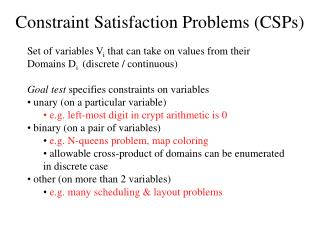 Constraint Satisfaction Problems CSPs