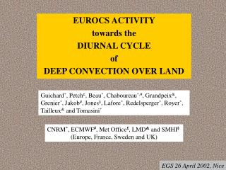 EUROCS ACTIVITY  towards the DIURNAL CYCLE  of  DEEP CONVECTION OVER LAND