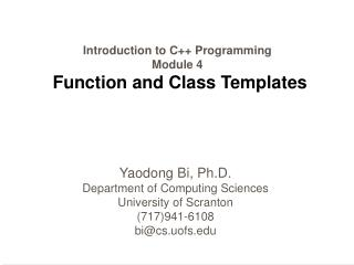 Introduction to C Programming Module 4  Function and Class Templates