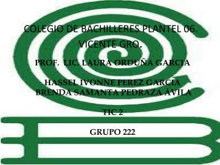 COLEGIO DE BACHILLERES PLANTEL 06. VICENTE GRO .