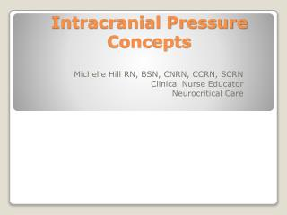 Intracranial Pressure Concepts