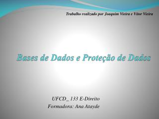 Bases de Dados e Proteção de Dados