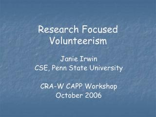 Research Focused Volunteerism