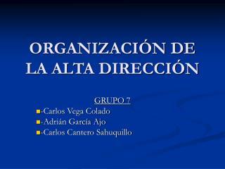 ORGANIZACIÓN DE LA ALTA DIRECCIÓN