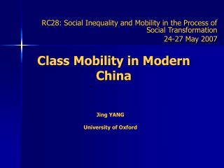 Class Mobility in Modern China