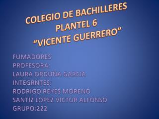 """COLEGIO DE BACHILLERES  PLANTEL 6  """"VICENTE GUERRERO"""""""